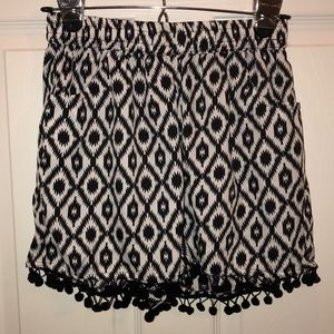 Pants - Cute black and white shorts with Pom tassels
